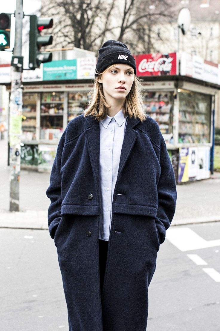 Nike beanie, collared shirt & a coat #style #fashion #editorial