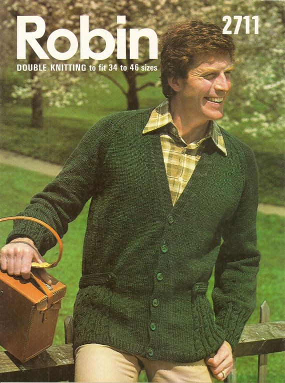 This is a PDF download of an original 1960s/1970s knitting Pattern.    Robin DK Mens Cardigan Knitting Pattern- belted, cabled jacket.