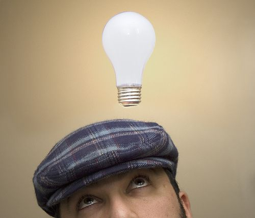 Light; Brilliance, This lightbulb is popping up over this guys head because he has just had a brilliant idea.