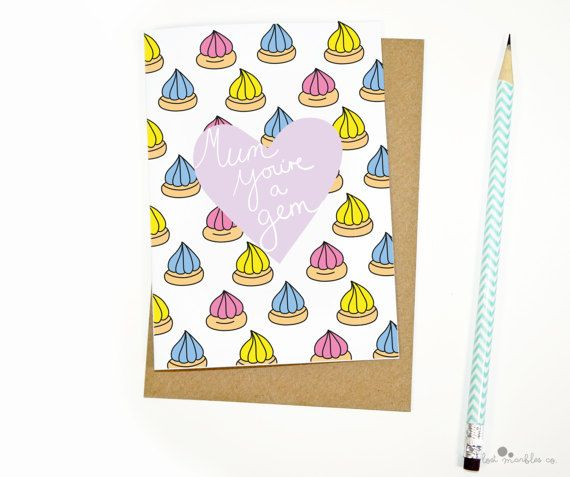 Cute Mothers Day Card  Sweet Card  Card for Her  Iced Gems by Lost Marbles Co