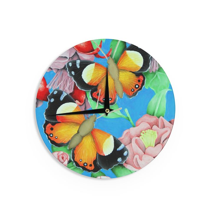 Kess InHouse Vinny Thompson 'Yellow Admiral' color Tropical Wall Clock