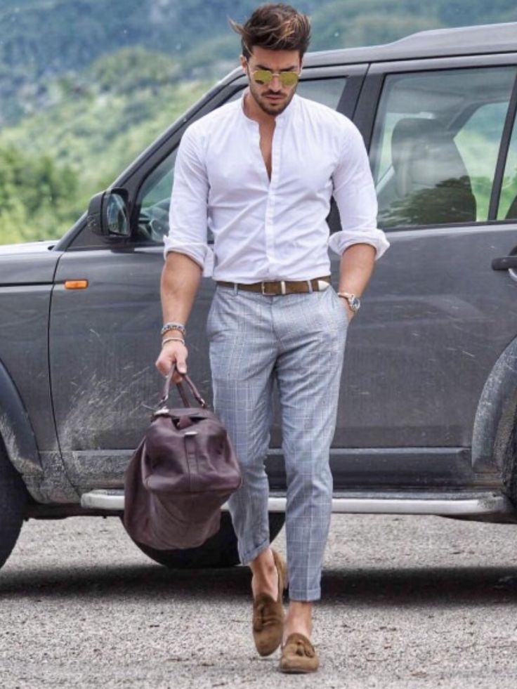 men's white shirt and grey pants