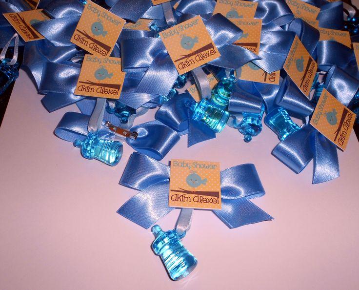 Distintivos para Baby Shower en color azul con el tema de pájaros ...