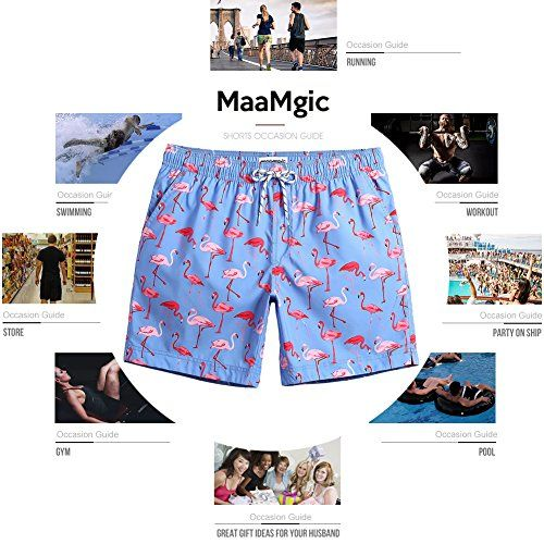 3bd2a0a55a6 MaaMgic Mens Quick Dry Flamingo Swim Trunks With Mesh Lining Swimwear  Bathing Suits,New-gma826-flamingo,L