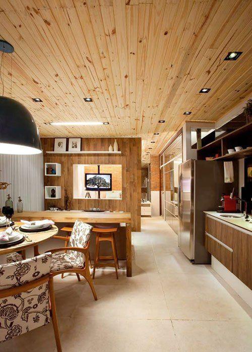 exemplo de forro de madeira clara