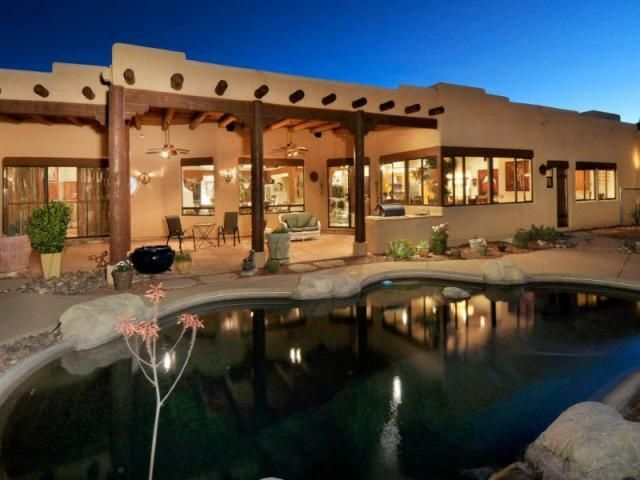 66 best santa fe homes images on pinterest haciendas for Adobe style homes for sale