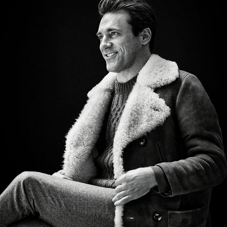 Mr Jon Hamm for MR PORTER wearing Saint Laurent Coat, Maison Margiela Sweater and Brunello Cucinelli Trousers.