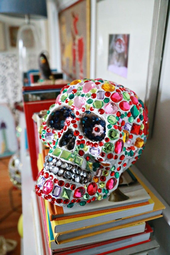 Sparkle Tooth Alert: Collage Clay Crystal Skull - Aunt Peaches