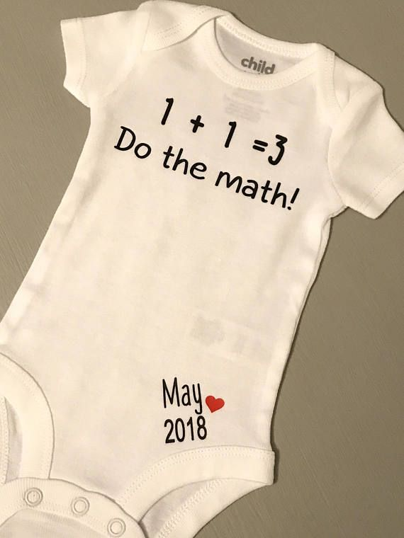 8f45cd536582 1+1=3 Baby Announcement Onesie with due date. This listing for one ...