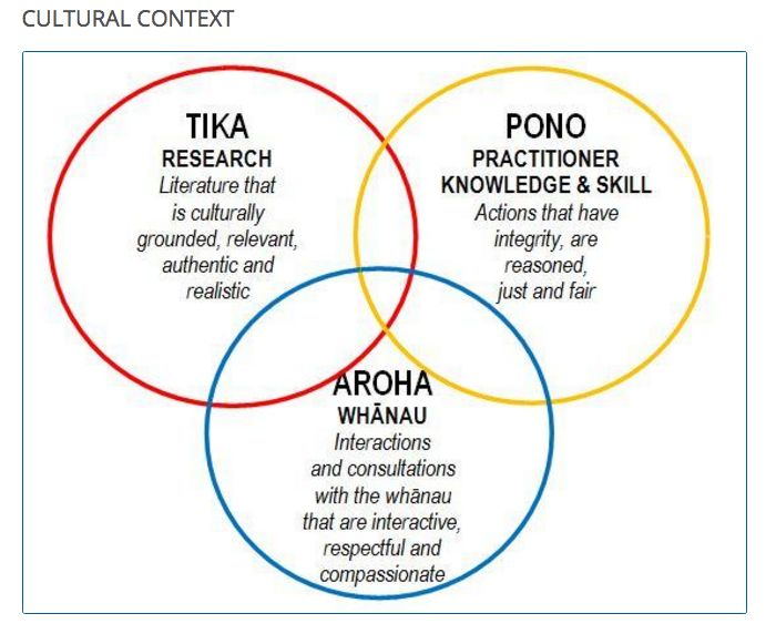 The 'informed practice' model has three circles of evidence: tika (research), pono ( practitioner skills and knowledge) and aroha whanau (whanau voice, knowledge, perspectives and participation). The model relates closely to Bronfenbrenner's model of social development which considers the child's development within the context of the systems of relationships that form the child's environment.