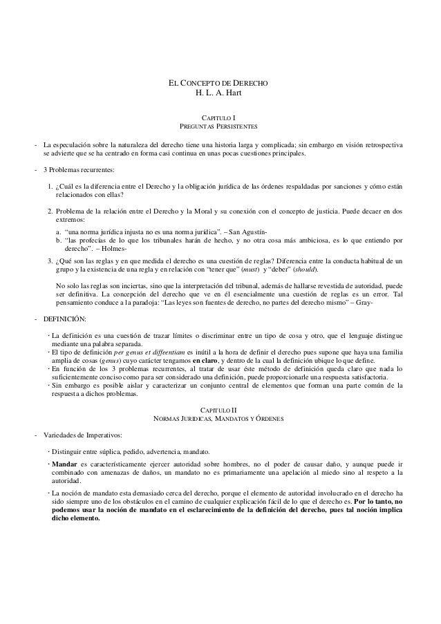 EL CONCEPTO DE DERECHO  H. L. A. Hart  CAPITULO I  PREGUNTAS PERSISTENTES  - La especulación sobre la naturaleza del derecho t...