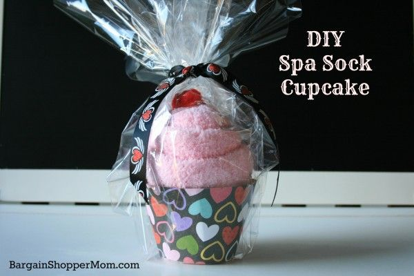 DIY Spa Sock Cupcake Tutorial with Free Printable Cupcake Wrapper Template - Great for party favors, gifts and more!