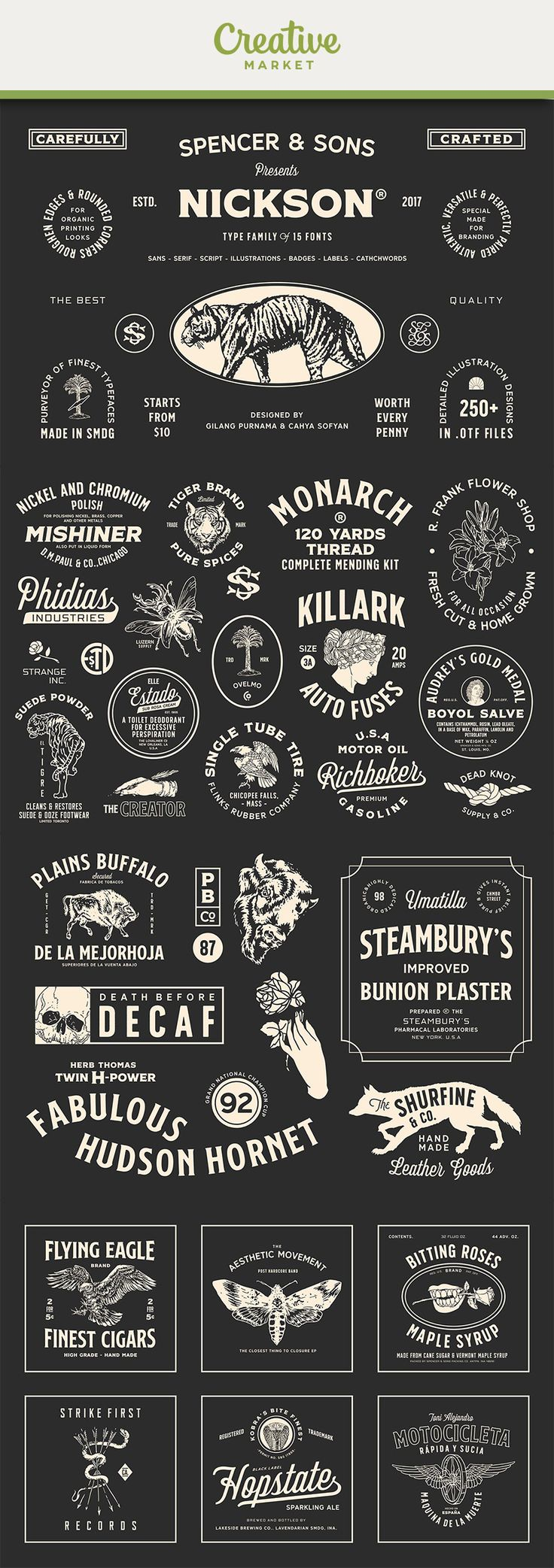 #affiliate Nickson offers seven display fonts, one script font, 250+ illustrations (using new techniques so you will not lose every detail), badges, labels, and catchwords. Nickson Font Family Collection was designed carefully to create elegant typographic works. It would be a perfect choice to design posters, affiches, logos, t-shirt and magazine prints, eye-pleasing typographic designs and more.