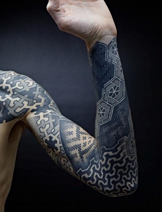 Stippling Tattoo Sleeves: Geometric Black Work Stipple Tattoo Sleeve