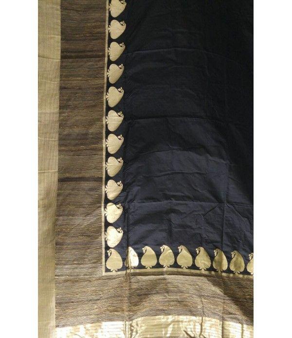 Black Handloom Banarasi Pure Ghicha Pallu Silk Saree