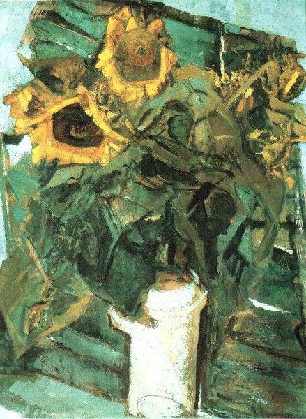 "Fausto Pirandello (Italian, 1899-1975) - ""Girasoli"" (Sunflowers), c. 1947 - Oil on cardboard"