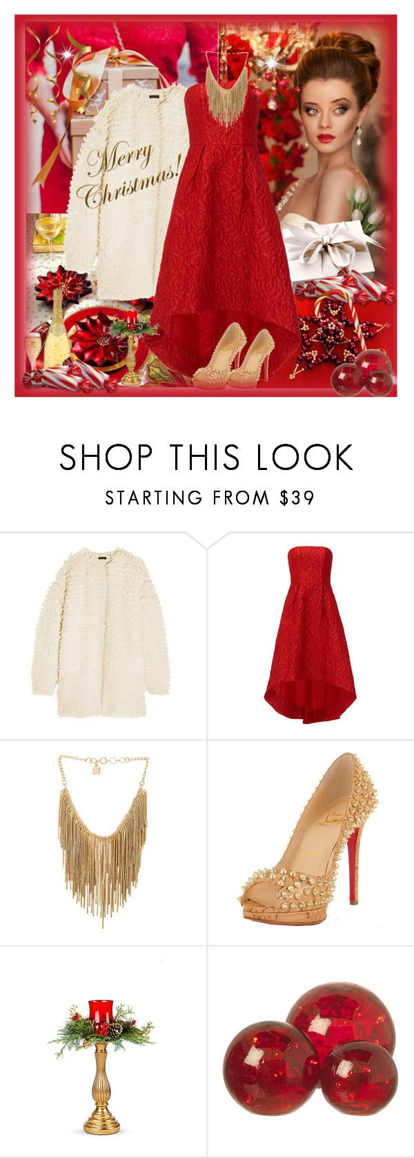 """Candy Cane Christmas"" by sheilafelix ❤ liked on Polyvore featuring J.Crew, ML Monique Lhuillier, BCBGMAXAZRIA, Christian Louboutin, Nuevo, Improvements and Parlane"