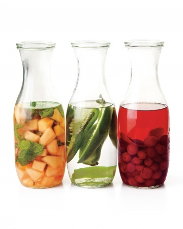 Infuse Your Booze- flavor your alcohol with fruit for a few days, strain it out, and serve.  @Kathleen S Murphy and I will be trying a few of these out this summer. (from Martha Stewart's Everyday Foods)