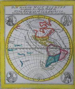 Der Neuen Welt Begriff, Bestehende in a Haubt Theilen als Nord America und Sud America, Warinnien der Erste Meridian nach Hollandischer art gezogen. | Sanders of Oxford