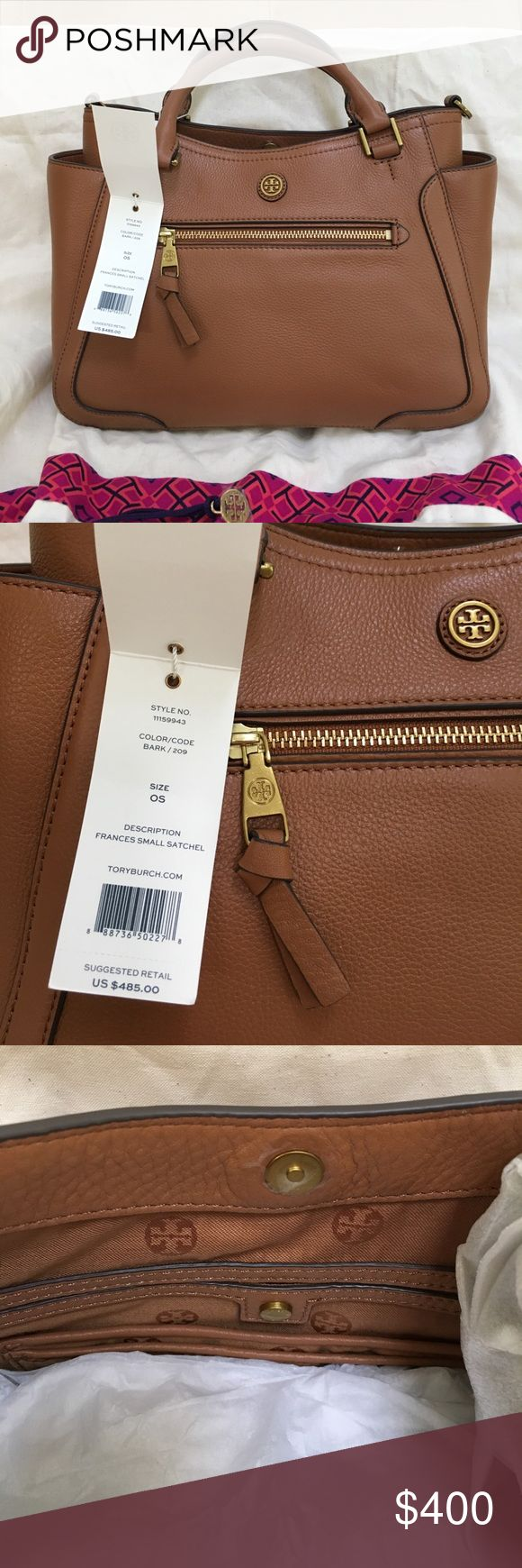 Tory Burch Frances small satchel Purchased in 2016 but never used. Measures 12x5x9. Removable cross body strap still wrapped inside bag. Has rustic gold hardware, though no protective feet. Lots of interior and exterior pockets. Tory Burch Bags Satchels