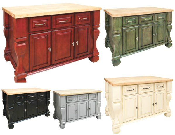 Tuscan Island Collection. This furniture style kitchen island collection has ample cabinet storage as well as an open shelf on the reverse side. #island #kitchendesign #homeowner #upgrade #remodel