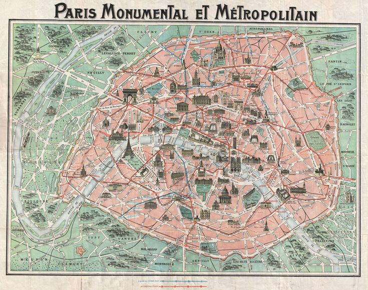 tourist map of paris 1932 prepared by robelin shows the old walled city of paris including the eiffel tower train and metro lines