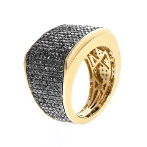 2.0 CT Round Brilliant Black Diamond Men`s Pinky Ring in Yellow Gold