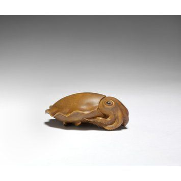 Cuttlefish Netsuke, Japan (made), late 19th century, Masakatsu (maker) Carved Boxwood