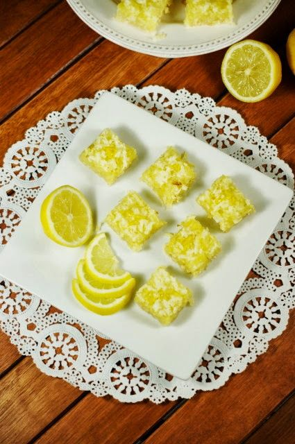 Luscious Lemon-Coconut Bars ~ Moist & delicious lemon bars sprinkled with sweetened flaked coconut.  Truly a taste combination made in heaven.  www.thektichenismyplayground.com  #lemon  #coconut