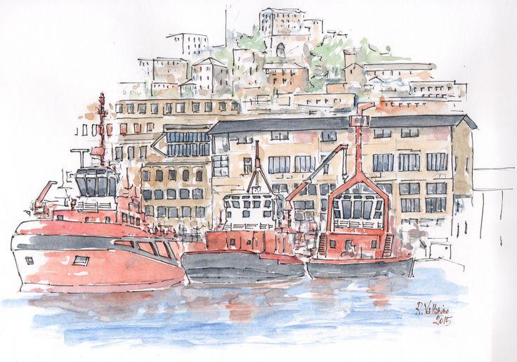 Watercolor: Rimorchiatori nel Porto di Genova