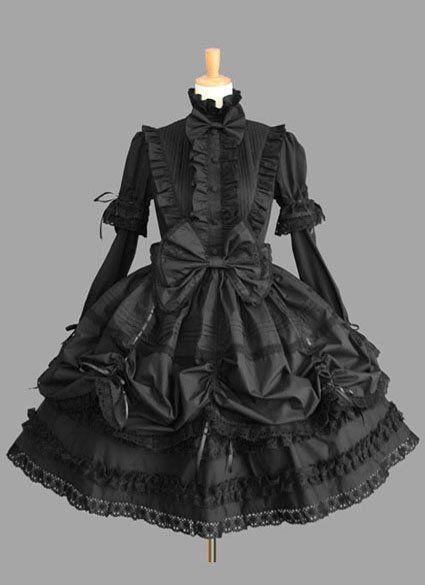 Lange mouw knie-lengte zwarte katoenen gothic lolita jurk met kant