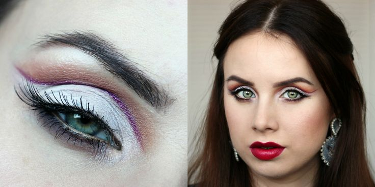 Cut crease hooded eyes, glam red lips