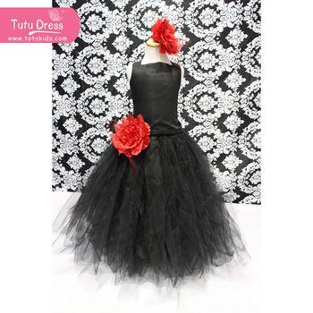 nieuwste stijl zwarte lange jurk met rode bloem meisjes puffy tutu jurken voor kinderen