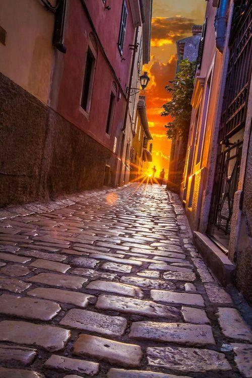 Cobblestone Sunset, Rovinj, Croatia.