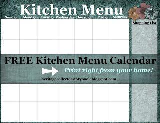 Free printable kitchen menu