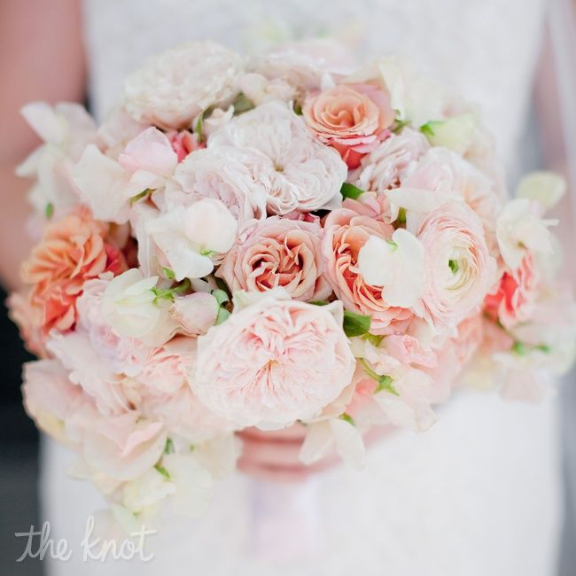 CENTERPIECES | coral, papaya and pink tones; parrot tulips, garden roses, ranuculus, and clusters of sweet peas