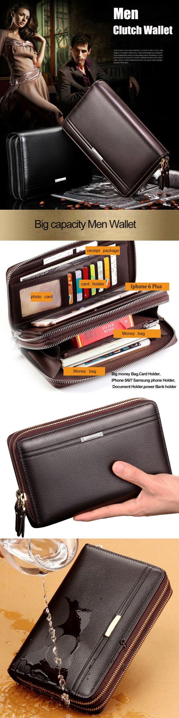 US$20.68 Waterproof PU Leather Clutch Bag_ Men Wallet_ 7 Card Holders Coin Bag_ Phone Bag For Men