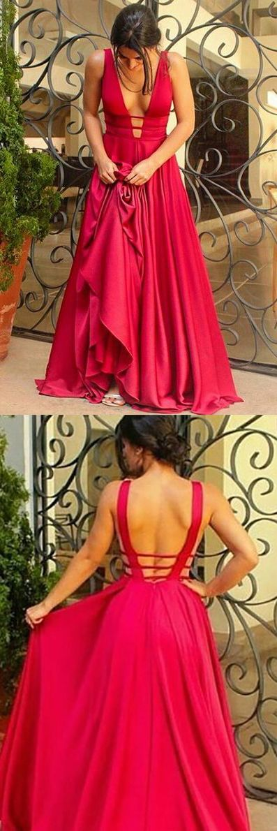 Red Prom Dresses,Bridesmaid Dresses,Gowns Prom,Sexy A-Line Backless Prom Dresses,Deep V-Neck Long Prom Evening Dress, M5