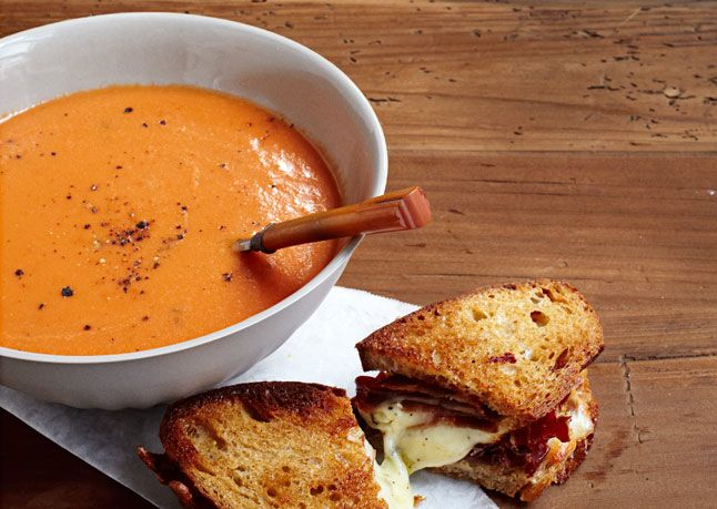 Bon Appetit: Creamy Tomato Soup  I omitted the cream to make it a little healthier and used no salt added tomatoes to cut down on the sodium.  I also substituted 2 cups of the water for 2 cups of homemade vegetable stock.  It was absolutely delicious with mini grilled cheese sandwiches!  Will definitely make again.