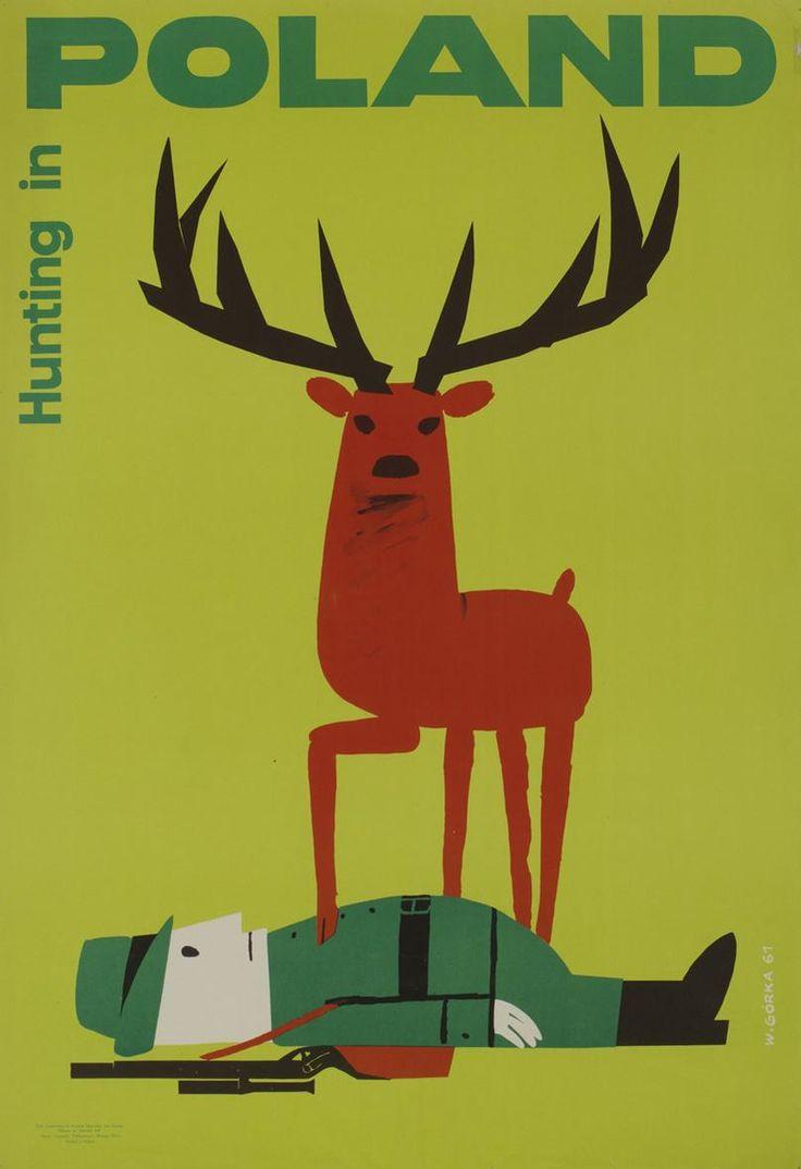 Plakat, Wiktor Górka, 1961 r. I mamy polską szkołę plakatu mało kolorów, prosty obrazek i wrażenie znakomite.