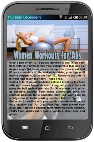 Women Workouts for Abs<p>This killer and Hot Abdominal muscles Exercises For ladies will flatten your stomach - You may have a limited stomach in only six months with no carrying out a single crunch! This can be a Free of charge application and these exer