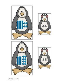 Here's a set of penguin themed cards for working on place value.