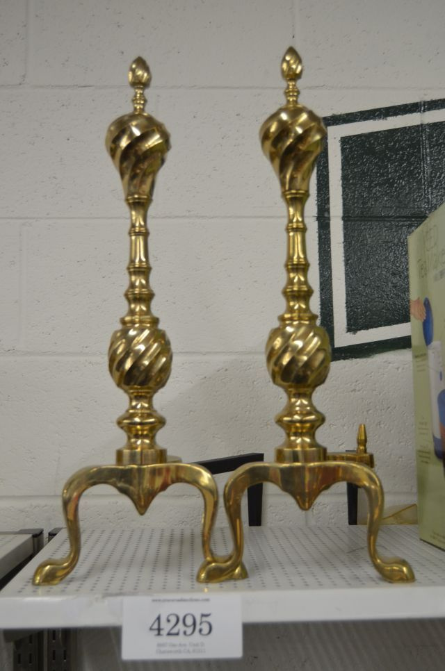 Brass firewood stands for the fireplace