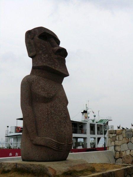 Le saviez-vous ? Il y a une Moaï, une statue de l'Île de Pâques à Kagawa, plus précisément sur Megijima. Étonnant non ?