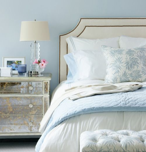 In love with that nightstand!Wall Colors,  Comforters, Headboards, Interiors, Blue Bedrooms, Master Bedrooms,  Puff, Bedside Tables, Night Stands