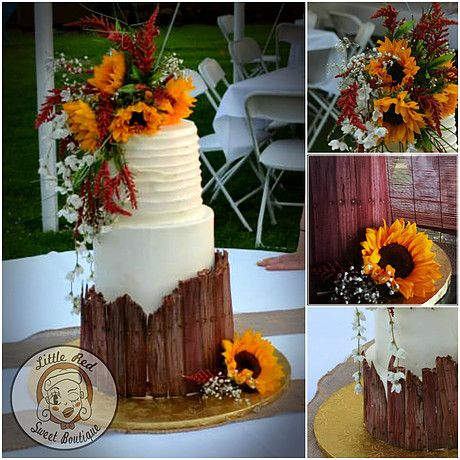 Little Red Sweet Boutique | Formal Cakes Sunflower Rustic Country Barn Wood Wedding