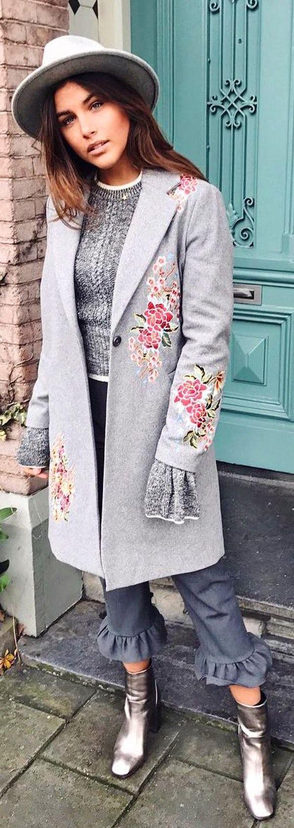 #winter #fashion /  Grey Hat / Grey Flower Print Coat /metallic Booties