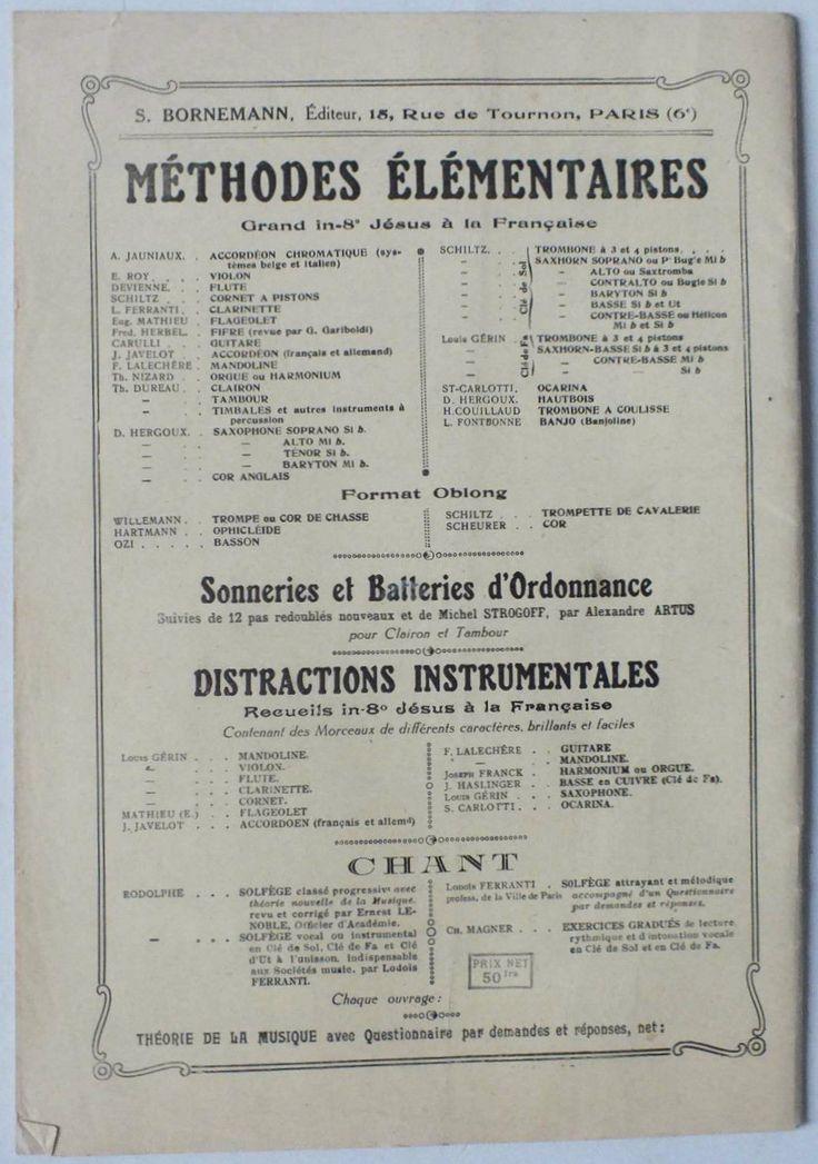 Nouvelle Méthode de Mandoline Élémentaire et Pratique de F. Lalechere - Paris - S. Bornemann - Editeur (back cover)