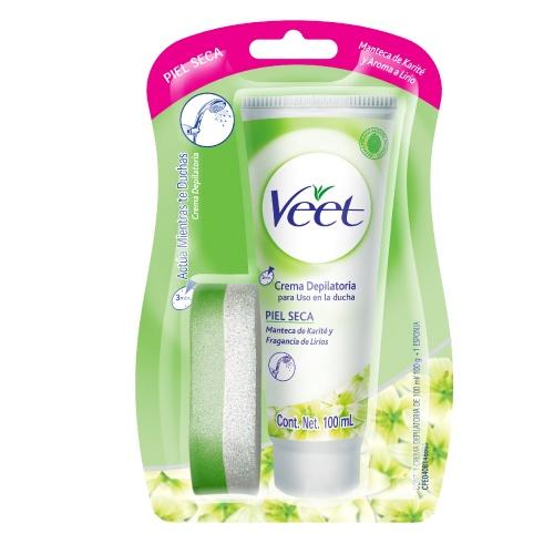 Veet Veet C. Ducha Piel Seca 100Ml Remueve el vello indeseado de la parte del cuerpo que tu quieras, al momento de bañarte, en solo tres minutos, dejando    tu piel suave y humectada
