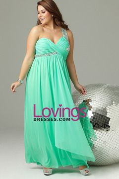 Plus Size Long Prom Dress With One Shoulder Strap With Stones Chiffon US$ 149.99 LDP34YM579 - lovingsdresses.com